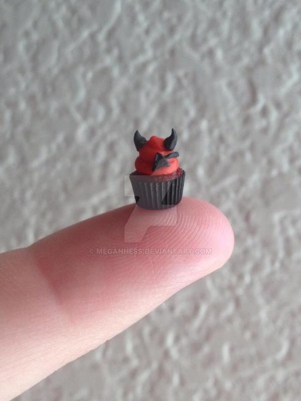Little Devil mini polymer clay Halloween cupcake by MeganHess