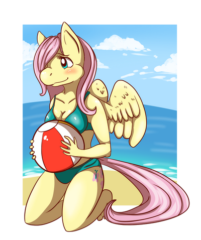 Fluttershy on the beach by minecraftfox