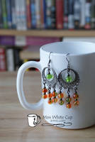 earrings: green and orange cascade by Margotka