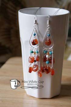 earrings: carnelian and turquoise cascade