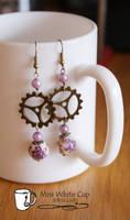earrings: Steampuncute gears and flowers by Margotka