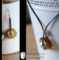 Brown glass and silver set by Margotka