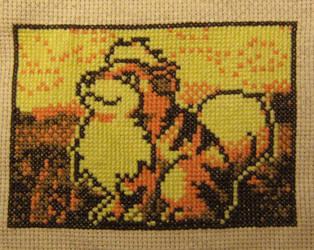 Growlithe Cross Stitch by silverdragoness