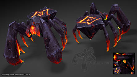Lava spider 3d Low Poly model hand painted