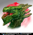 Green Fantasy Dragon Head