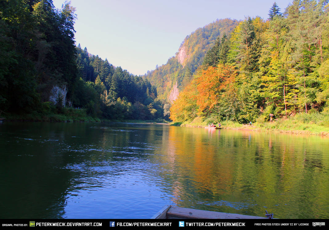 Free Stock River Tree Boat Mountain Landscape by