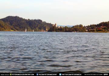 Free Stock Lake Water Boat Castle Waves Hills by PeterKmiecik