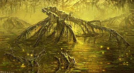 Tree in swamp #speedpaint #throwback by PeterKmiecik
