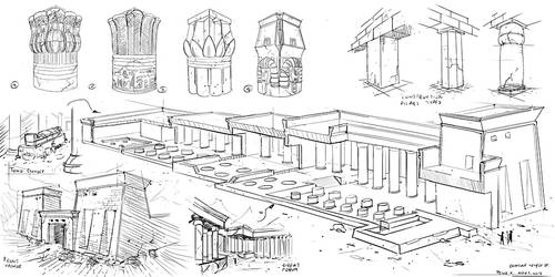 Egyptian architecutre #sketches by PeterKmiecik