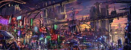 Scifi city #speedpaint by PeterKmiecik