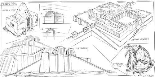 Mesopotamian architecutre #sketches by PeterKmiecik