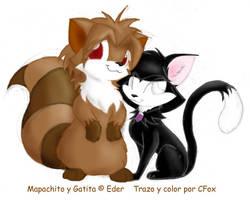 Mapachito y Gatita by CFox-the-furvert