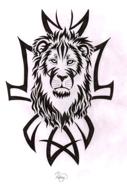 Lion And Tribal Tattoo Design By Bexyboo16 On Deviantart