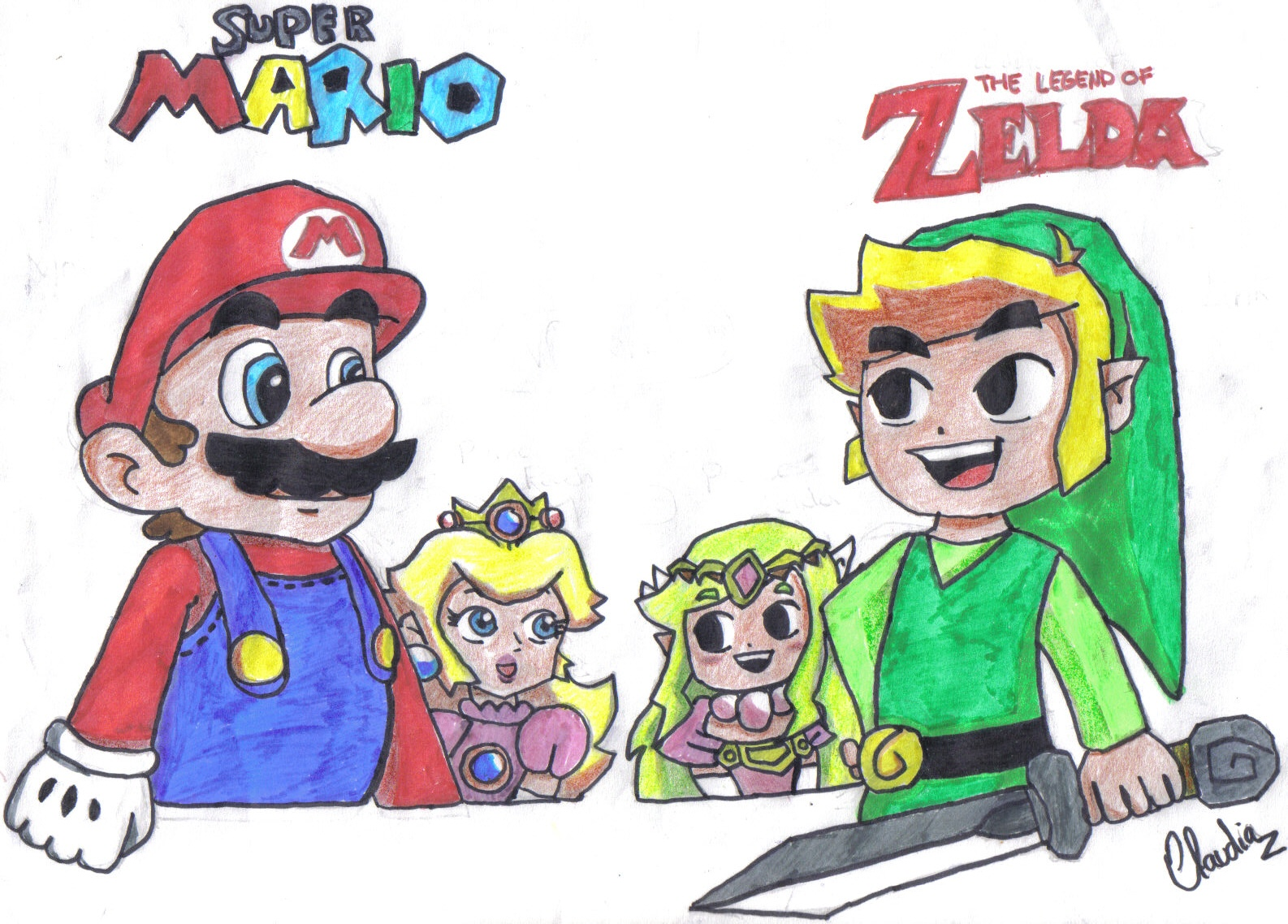 Mario,Link,Peach and Zelda by diaxa