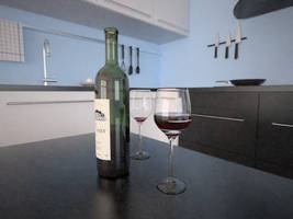Wine in blue kitchen