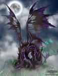 Dark dragon in the moonlight