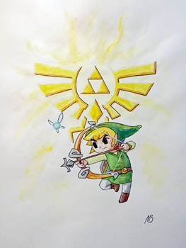 A watercolor Toon Link