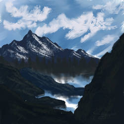 (Painting) Rock Mountains by CobaltDrawing