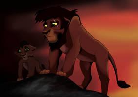 Kovu And Cub by TheGreenRabbit