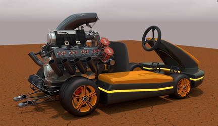 Modified kart with V8 power
