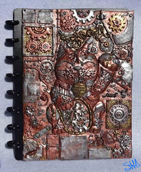 Steampunk lucky cat notebook cover by sushann