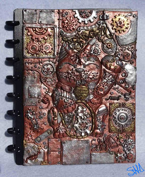 Steampunk lucky cat notebook cover