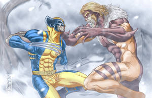 Sabretooth and Wolverine Fight in the Snow by THExEVILxTW1N