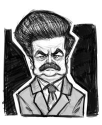 Ron f'ing swanson WIP by NERFCOMMIE