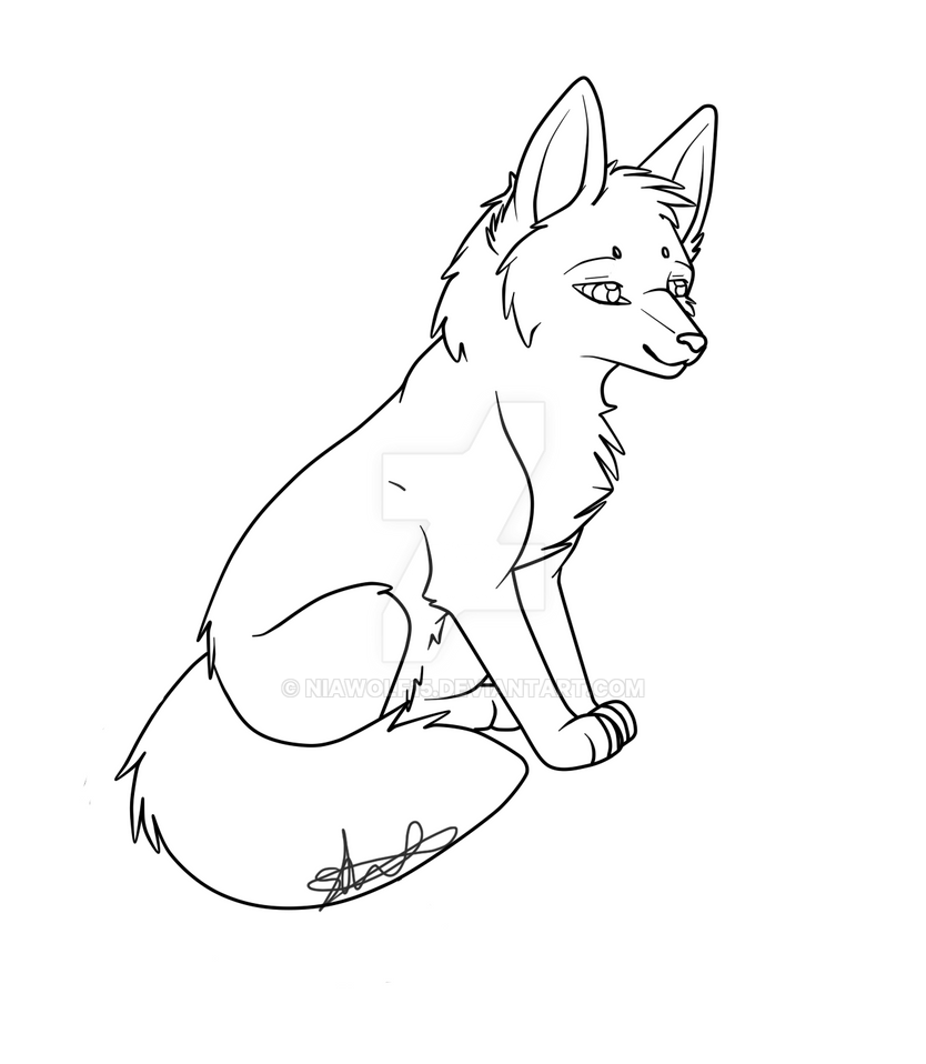 Lineart Wolf Tattoo : Female fox lineart lowered price by niawolf on deviantart