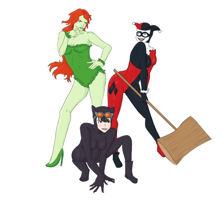 Harley, Poison Ivy, and Catwoman by Deathirst