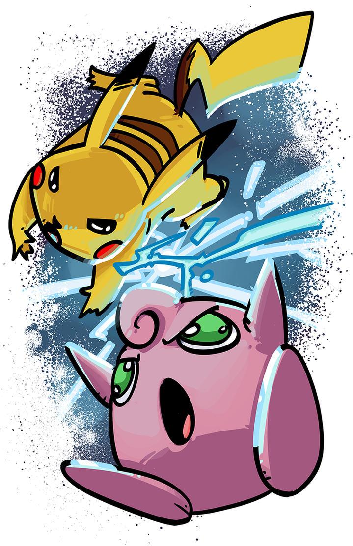 Pikachu vs Jigglypuff by PumaDriftCat