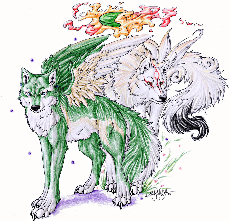 ::Winged Link and Amaterasu:: by WhiteSpiritWolf
