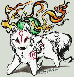 Amaterasu..Ink Goddess by WhiteSpiritWolf