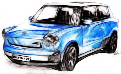 Blue Trabant by WhiteSpiritWolf