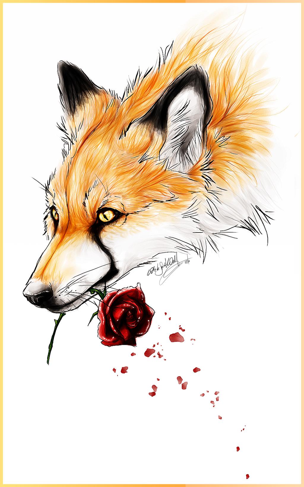 Fox and RoseTattoo Design