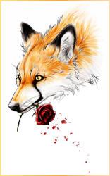 .:Fox and Rose:Tattoo Design:. by WhiteSpiritWolf