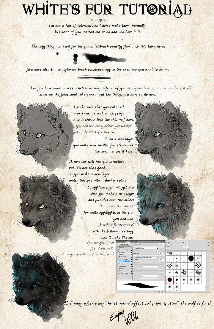 .:White's Fur Tutorial:. by WhiteSpiritWolf
