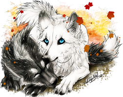 PC.: Ayoko + Arthemis :. by WhiteSpiritWolf