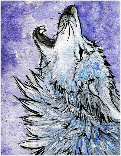 Aceo ghost howl by whitespiritwolf