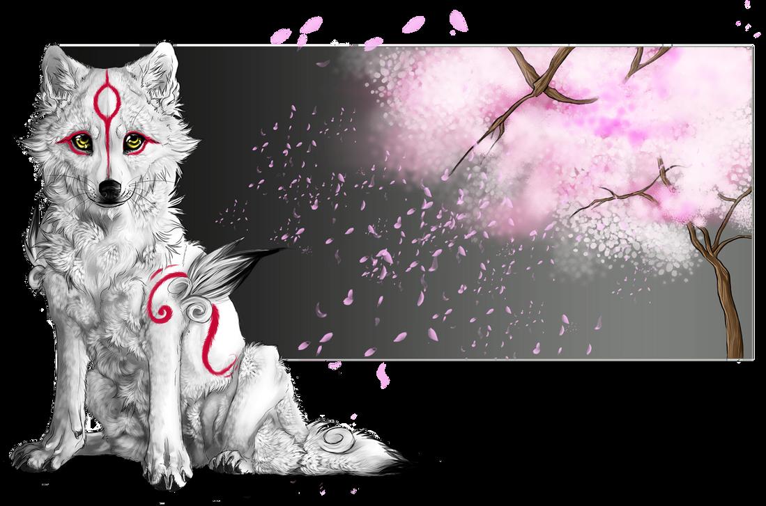 .:Chibiterasu_Cherry Blossom:. by WhiteSpiritWolf