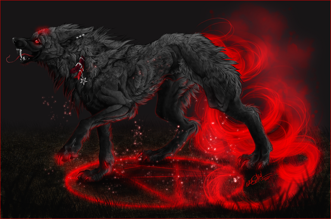 .:Harakiri:demonic hellhound:. by WhiteSpiritWolf
