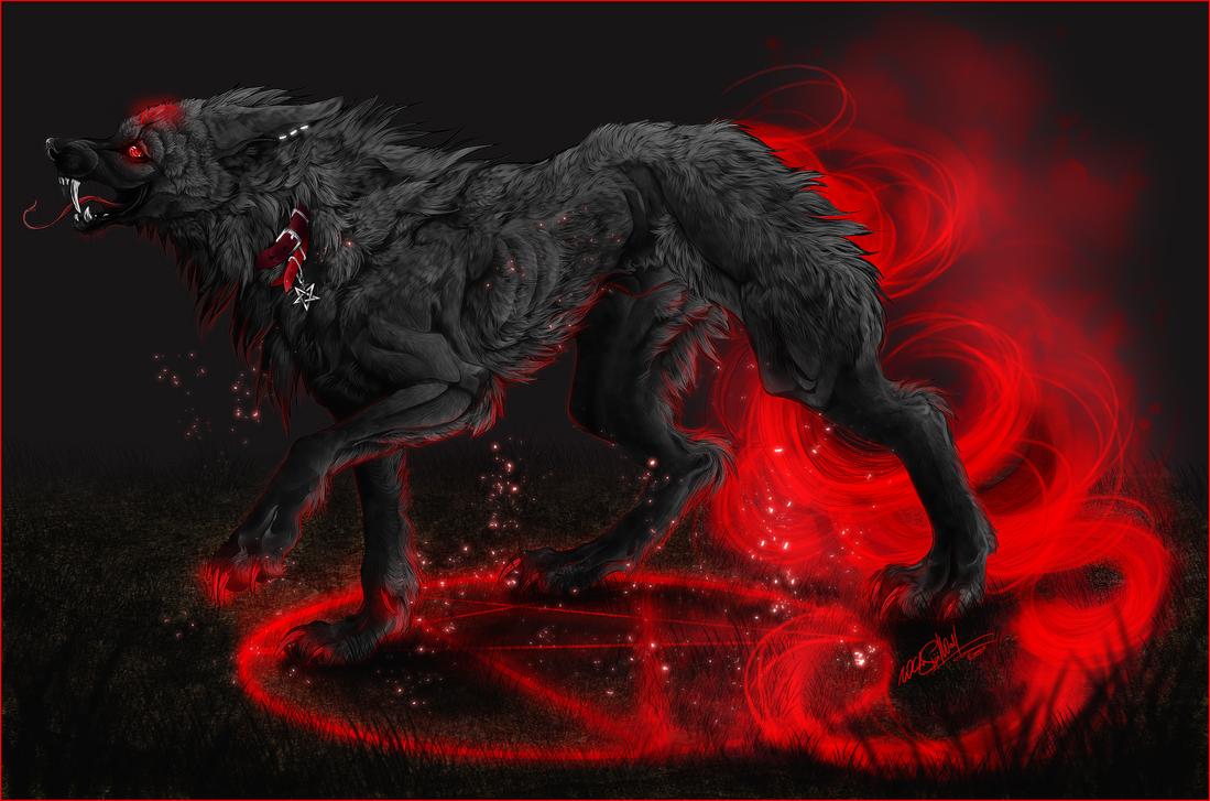 .:Harakiri:demonic hellhound:. by WhiteSpiritWolf