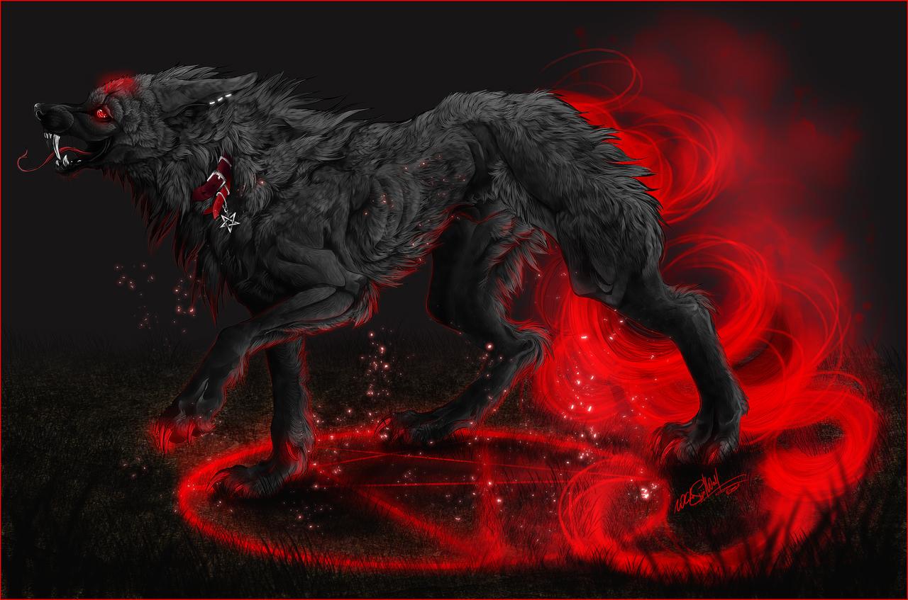 .:Harakiri:demonic hellhound:. by WhiteSpiritWolf on