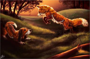 The Fox 'n' The Hound by WhiteSpiritWolf