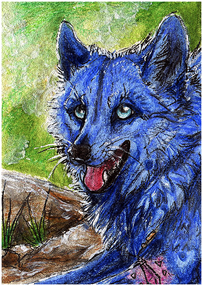 .:Blue Happy Wolf:. by WhiteSpiritWolf
