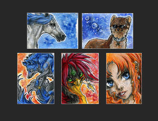ACEOs .:August - September:. by WhiteSpiritWolf
