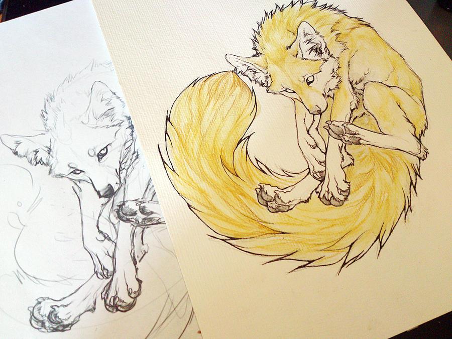 -Pale Fox WIP- by WhiteSpiritWolf