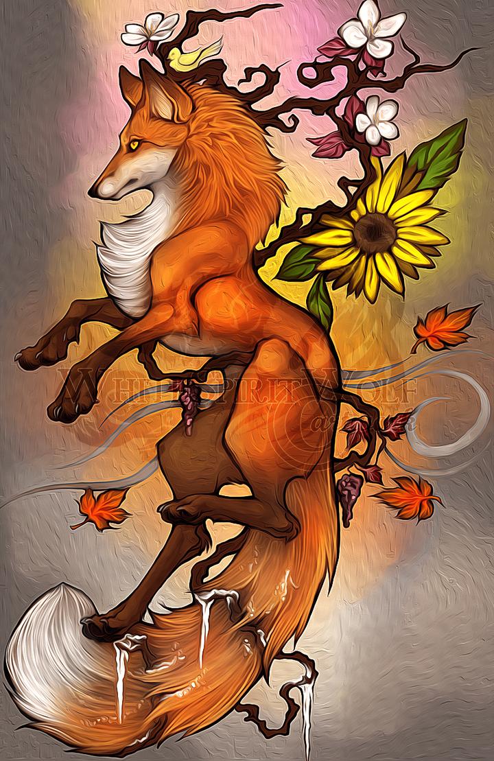 .: 4 Seasons Fox :. by WhiteSpiritWolf