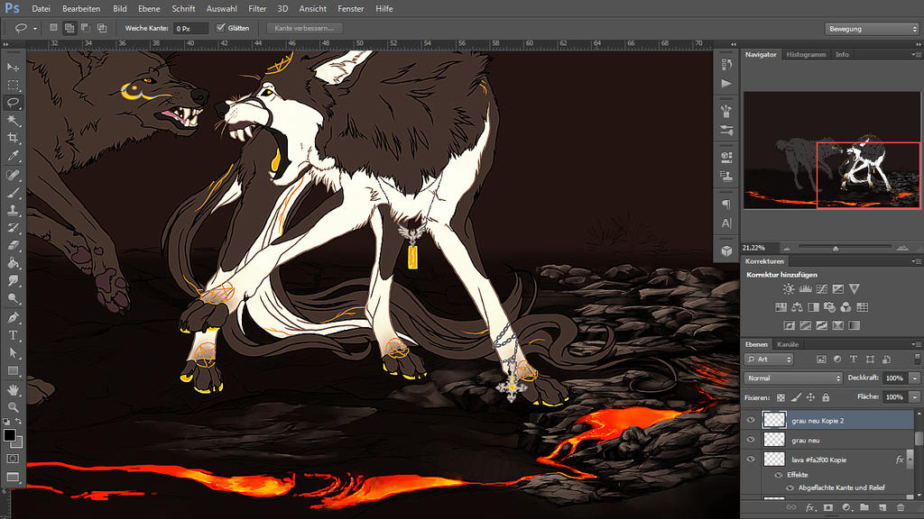 WIP. Volcano Fight Collab by WhiteSpiritWolf