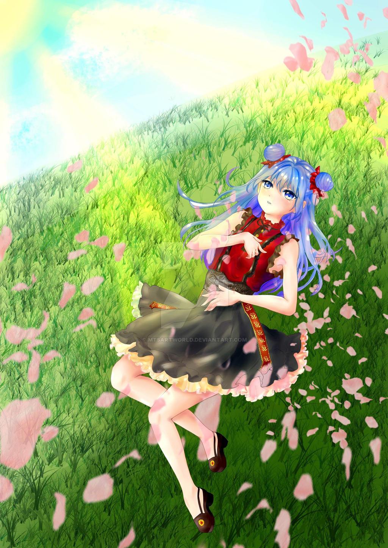Little anime girl on grass by mtsartworld